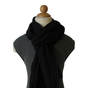 lightweight cotton & silk scarf - black