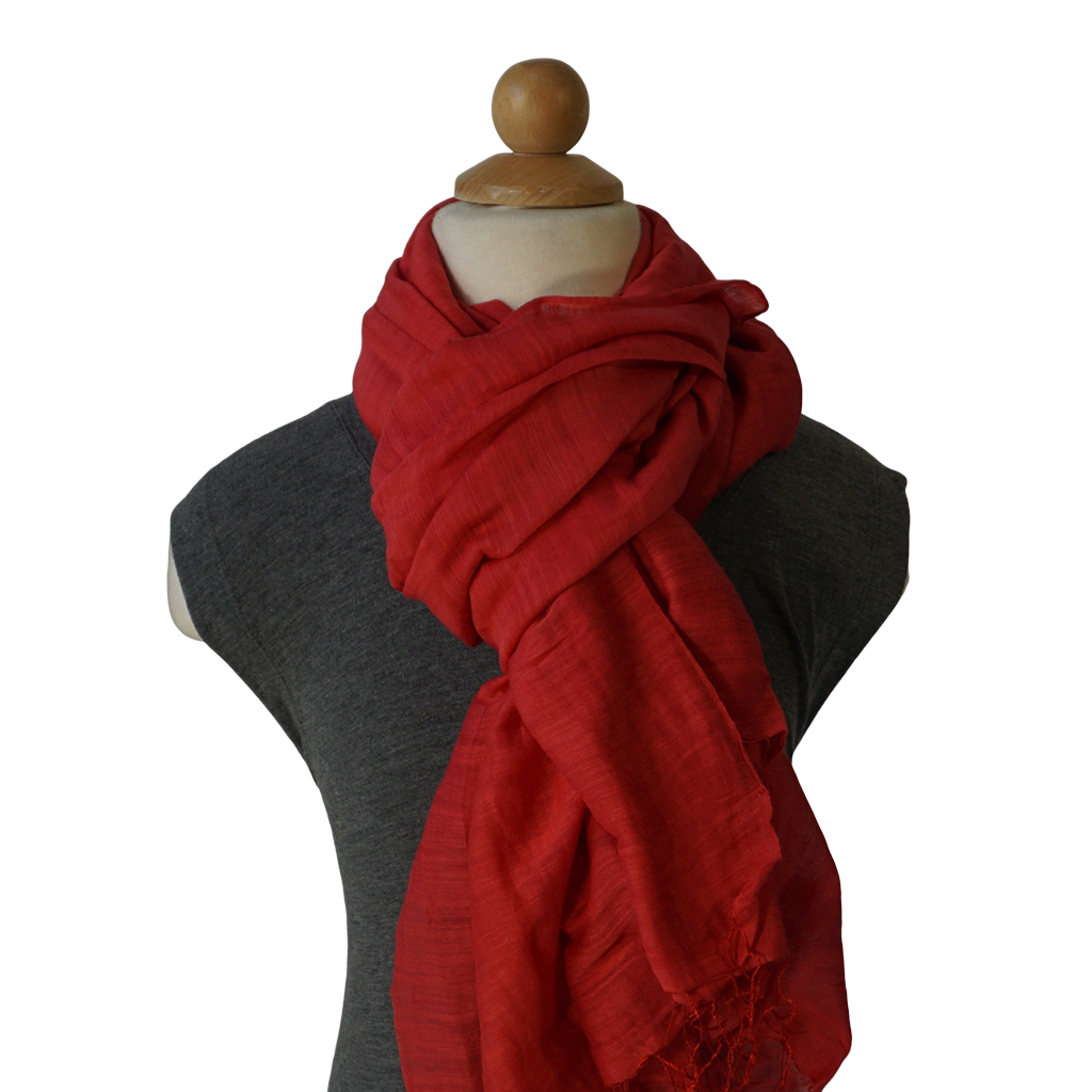 lightweight cotton & silk scarf - red