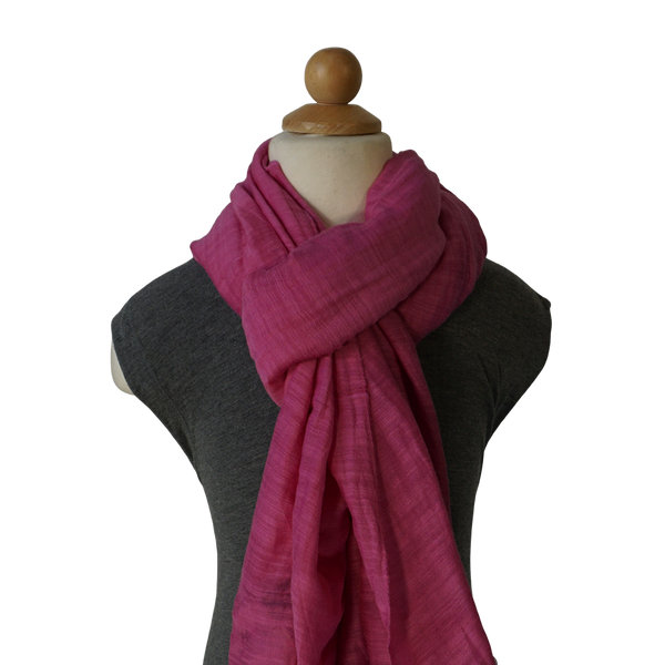 lightweight cotton & silk scarf - deep fuschia