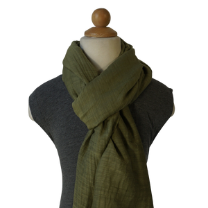 lightweight cotton & silk scarf - olive green