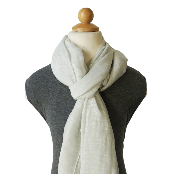 lightweight cotton & silk scarf - bright white