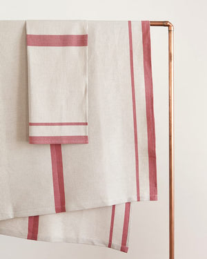 mungo huck bath towel - red on natural