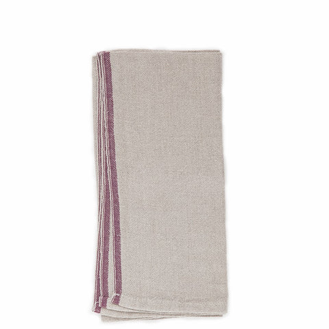 linen napkin natural with deep purple selvedge edge