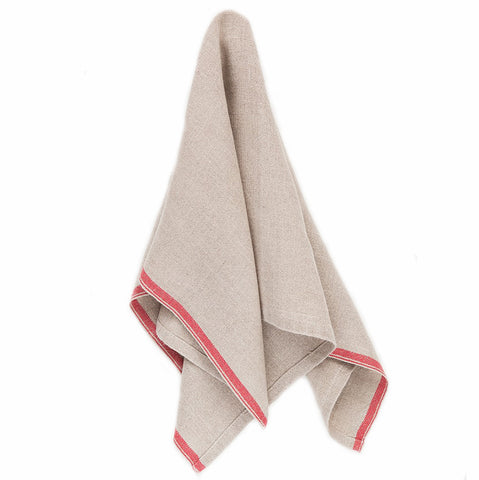 natural linen napkin with red selvedge edge