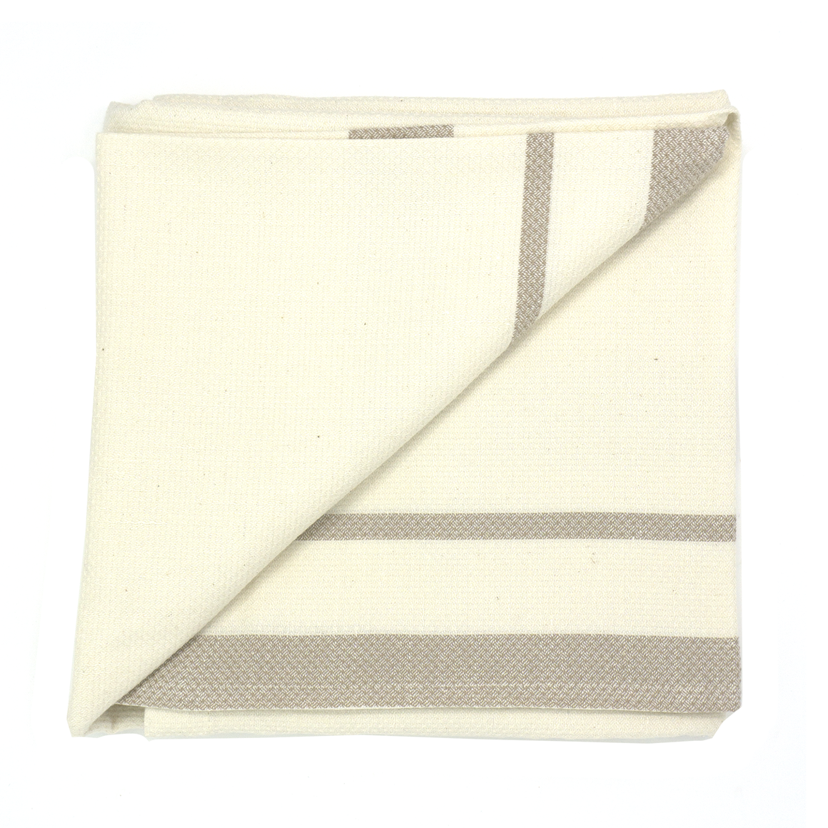 mungo huck bath towel - taupe on ecru