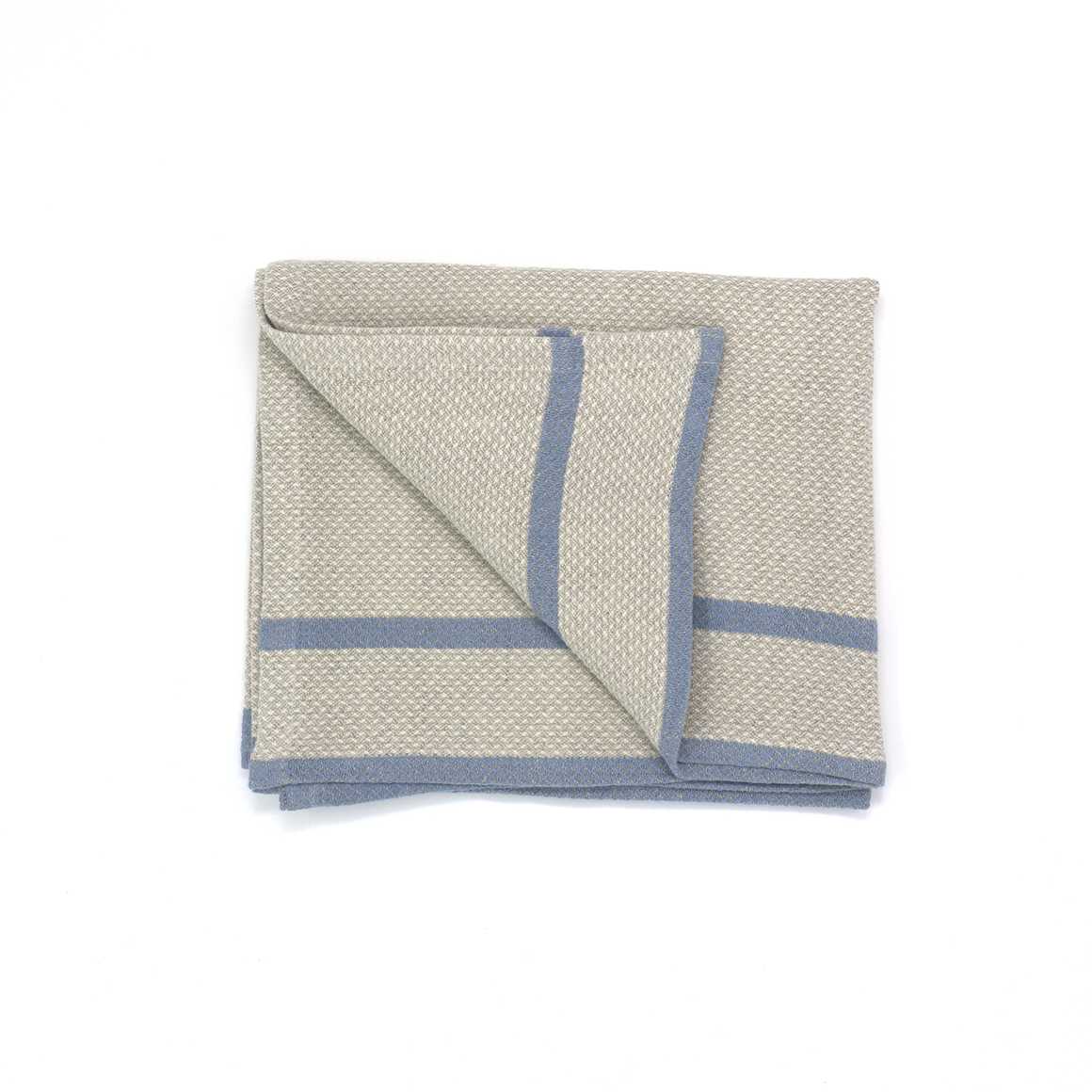 mungo huck hand towel - blue on natural