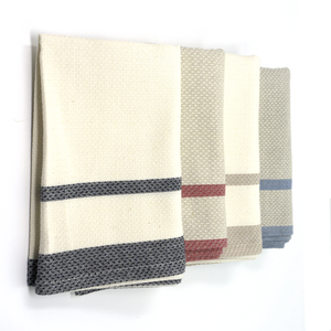 mungo huck hand towel - red on natural