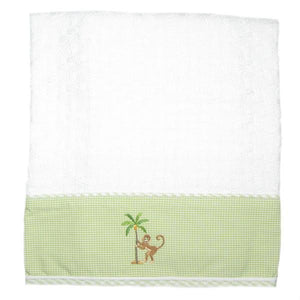 on safari baby blanket with yellow trim