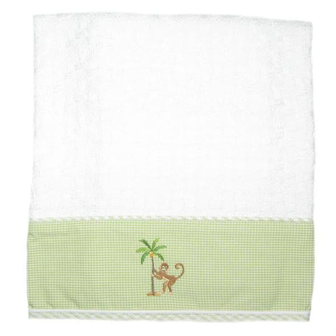 cotton baby blanket on safari green