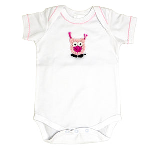 short body onesie with crocheted pink owl