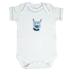short body onesie with crocheted blue owl