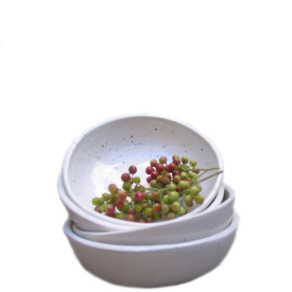 small handmade ceramic bowl - white