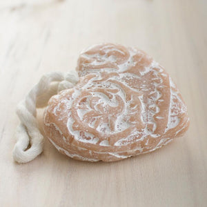 carved heart soap on rope
