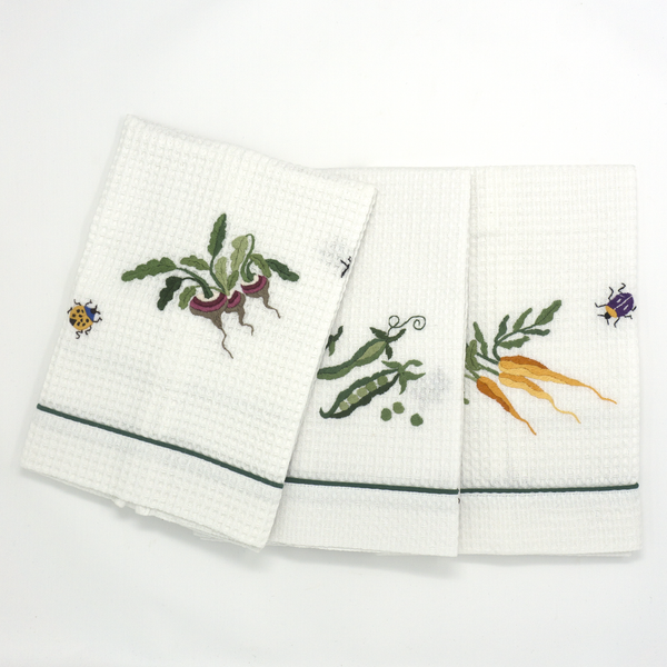 hand embroidered cotton kitchen tea towel