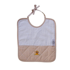 baby terry bib on safari beige