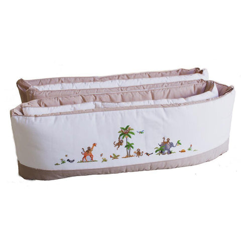 white on safari crib bumper with pink trim