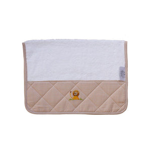 baby terry burp cloth on safari beige