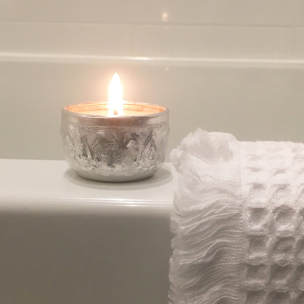 candle in reusable bowl and waffle hand towel