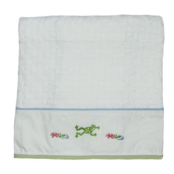froggy pond baby blanket with blue & green trim