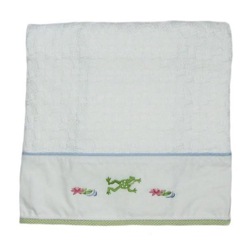 cotton baby blanket froggy pond with blue & green trim