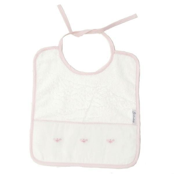 baby terry bib baby bees pink