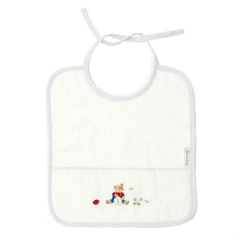 baby terry bib teddy bear blue