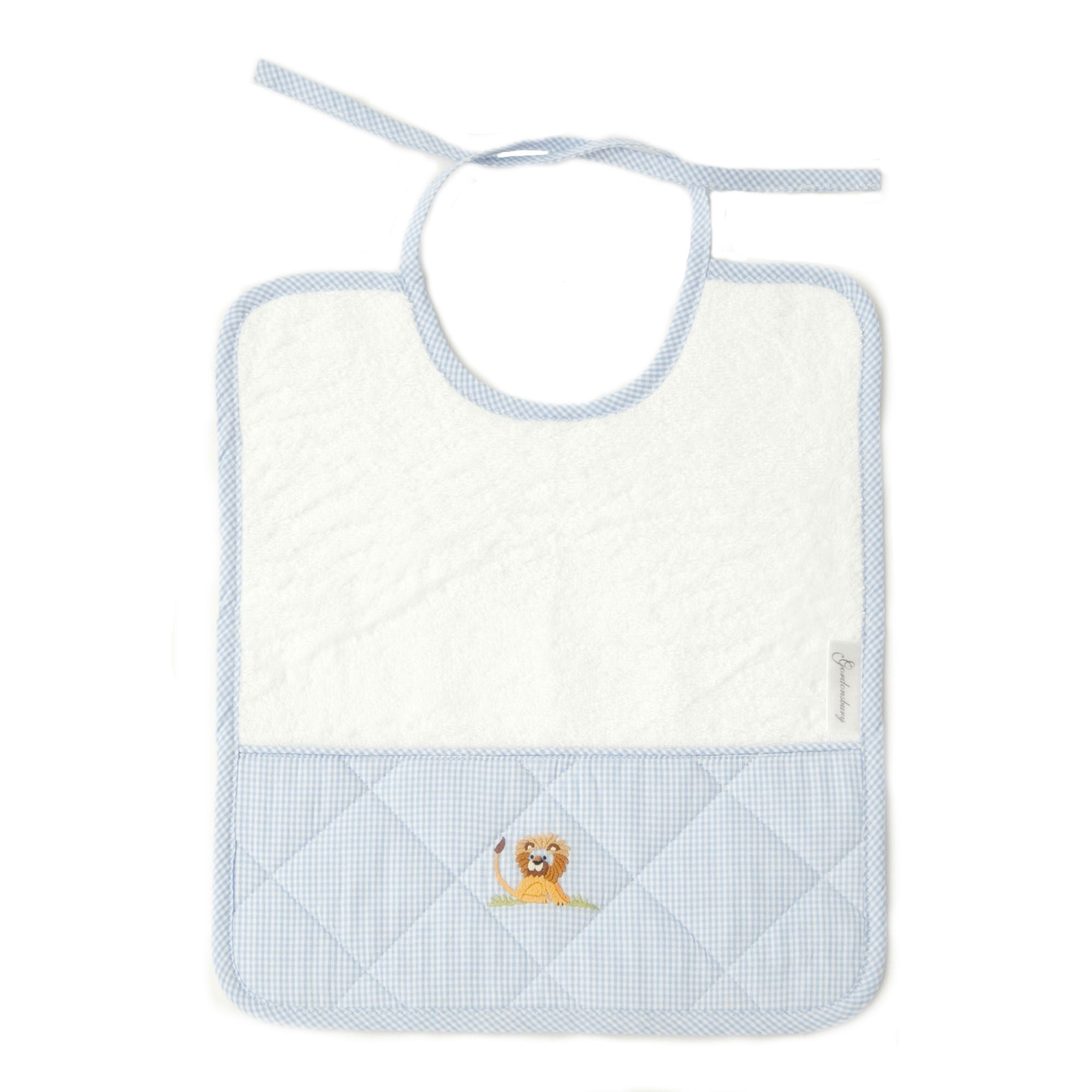 baby terry bib on safari blue