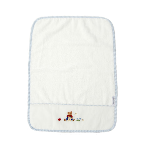 baby terry burp cloth teddy bear blue
