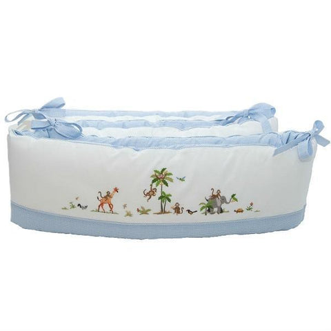 crib bumper on safari blue