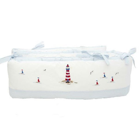 crib bumper nautical blue trim