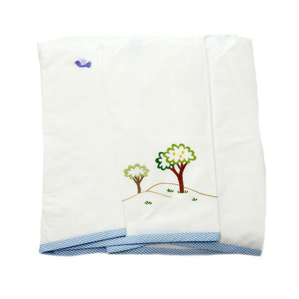blue gingham monkey business crib dust ruffle
