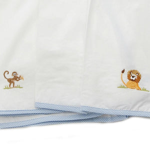 crib dust ruffle on safari blue trim