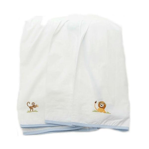 white on safari crib dust ruffle with blue trim