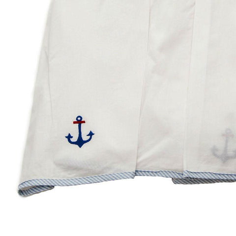 white sailing away crib dust ruffle with blue trim