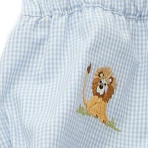 diaper cover embroidered on safari blue gingham 12 - 18 months