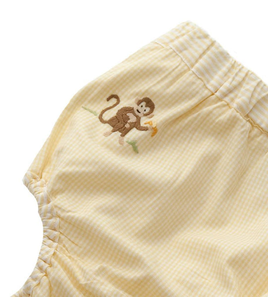 diaper cover embroidered on safari yellow gingham 6 - 12 months
