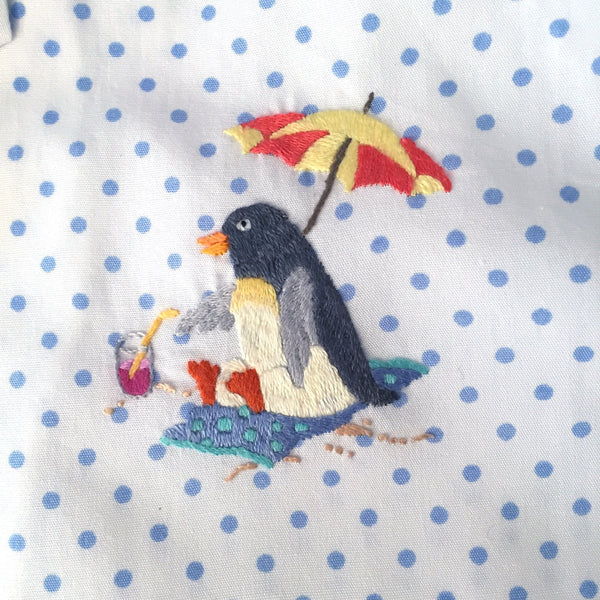 kids sleep set penguin beach party blue
