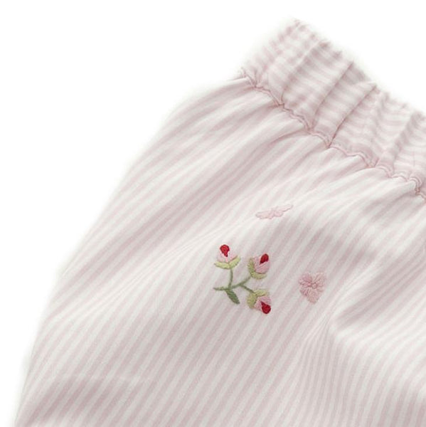 diaper cover embroidered rosebud pink stripe 6 - 12 mths