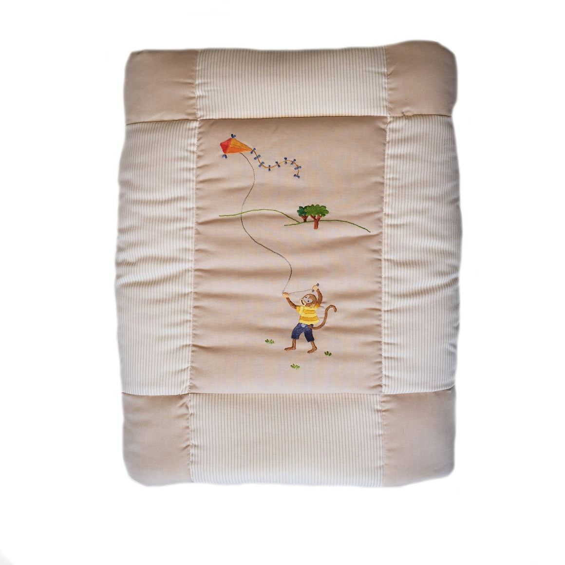 baby quilt monkey business beige