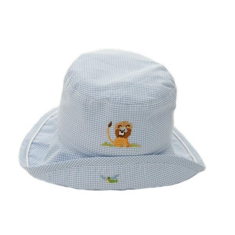 toddler sun hat on safari blue 6 - 12 mths