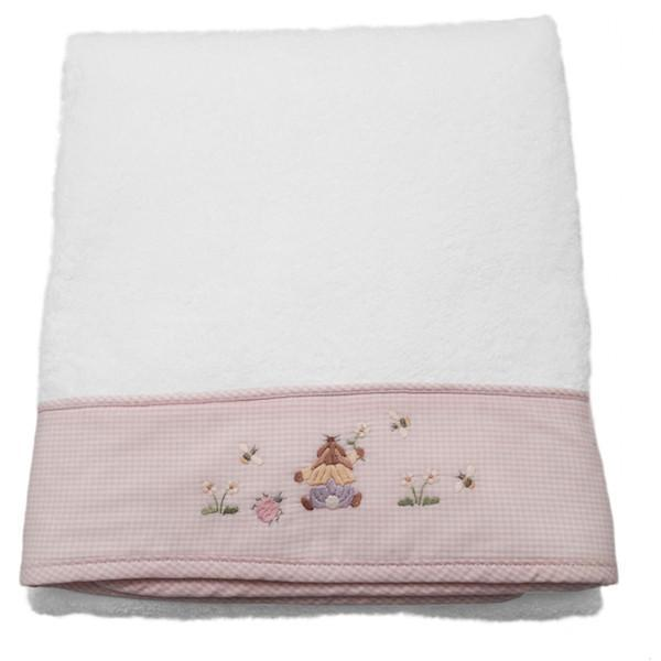baby terry bath towel - teddy bear pink