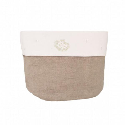 linen vanity holders large - natural hydrangea