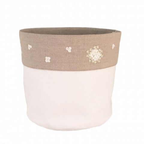 linen vanity holders large - white hydrangea