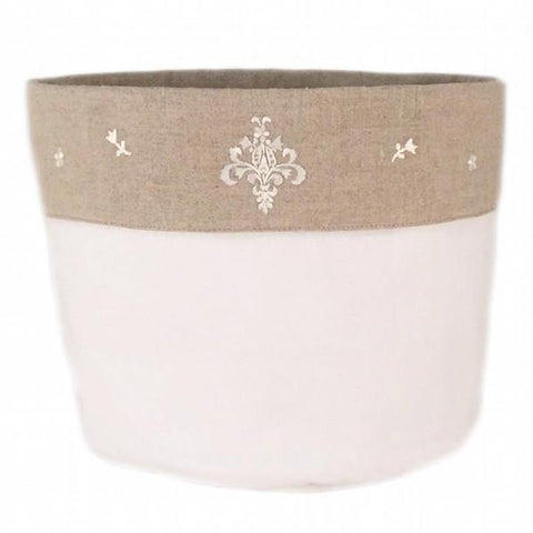 linen vanity holders small - white ornamental