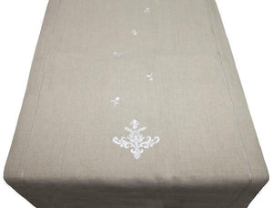 linen table runner - natural with emblem embroidery