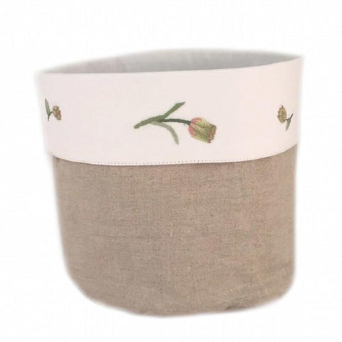 linen vanity holders large - natural tulip