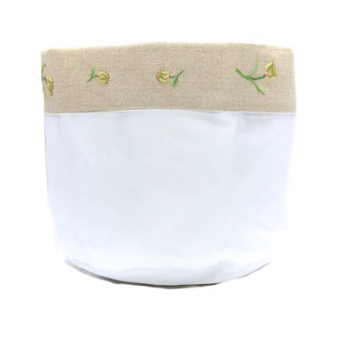 linen vanity holders small - white tulip