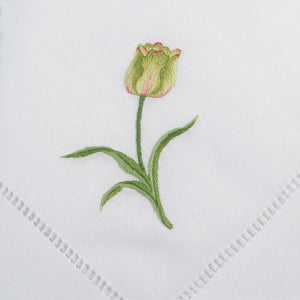 hand embroidered linen napkins - tulip design