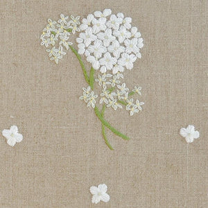 linen table runner - natural with hydrangea embroidery