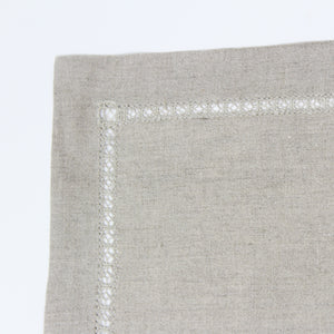 linen detailed hemstitched placemat flax
